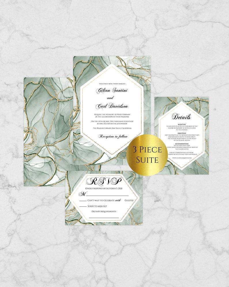 GG100 Green Wedding Invitation Template Wedding Invitation Suite Gold and Emerald Wedding Invitation Winter Wedding Invitation