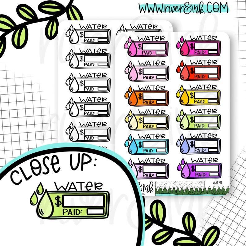 Water Bill Budget Hand Drawn Planner Sticker