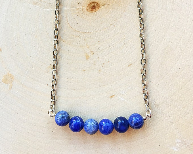 Healing Sodalite Crystal Bead Necklace