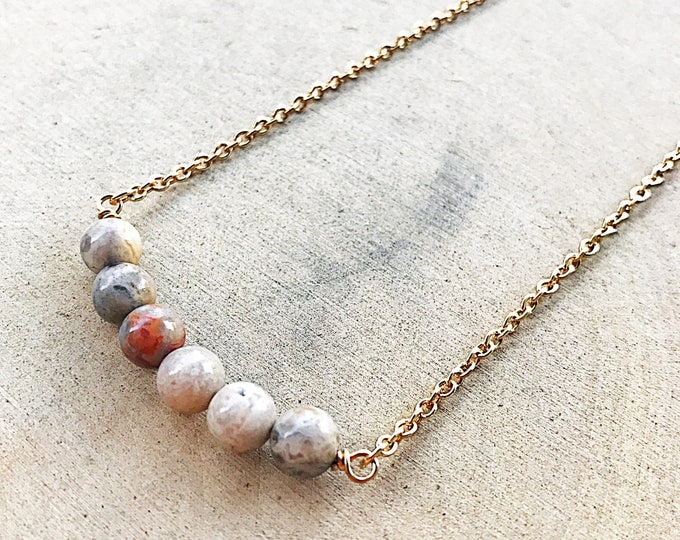 Crystal Agate Bead Necklace, Healing Stone Jewelry, Crazy Lace Agate, Gold Pendant, Boho Jewelry, Gifts For Her, Bridesmaid Gift, Handmade