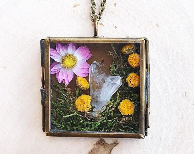 Healing Quartz Crystal Garden Shadow Box Necklace