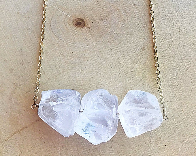 Three Quartz Healing Crystal Necklace
