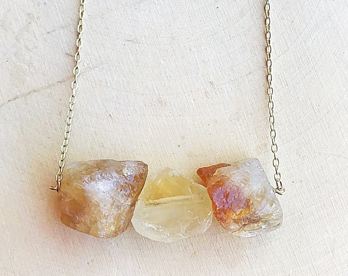 Three Citrine Healing Crystal Necklace