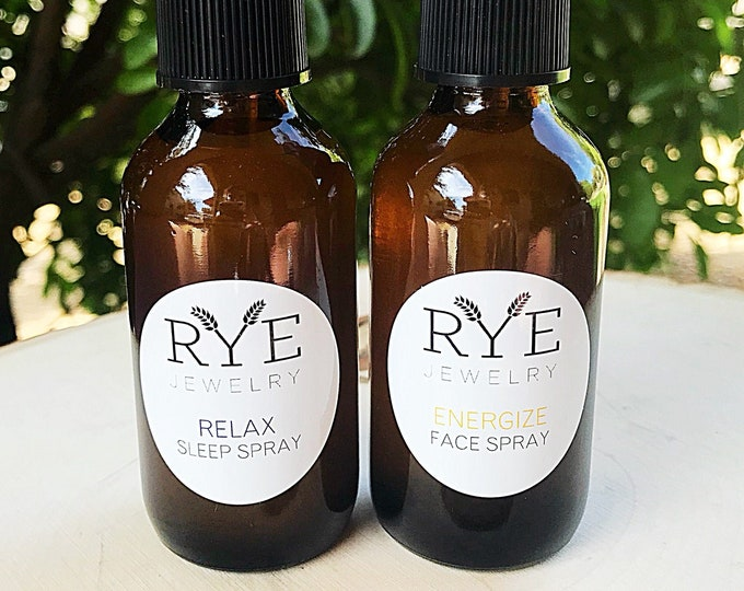 Essential Oil Spray Set with Relaxing Aromatherapy Spray and Energizing Moisturizing Face Spray