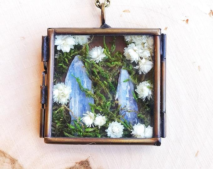 Healing Kyanite Crystal Garden Shadow Box Necklace