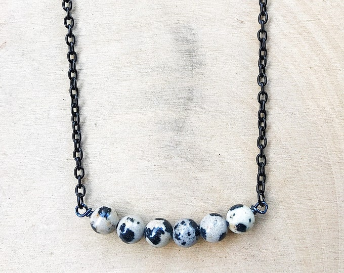 Dalmatian Stone Necklace, Black White Crystal, Gemstone, Healing Beads, Silver Jewelry, Bohemian, Gifts For Her, Bridesmaid Gift, Handmade