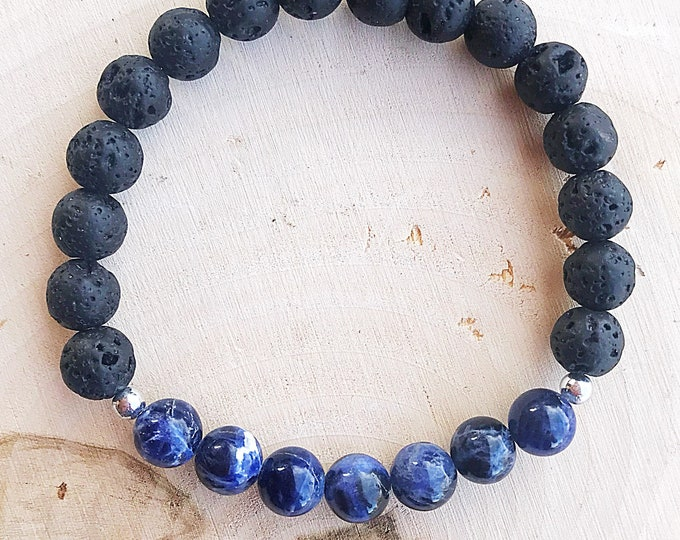 Reiki-Infused Sodalite and Lava Stretch Bracelet