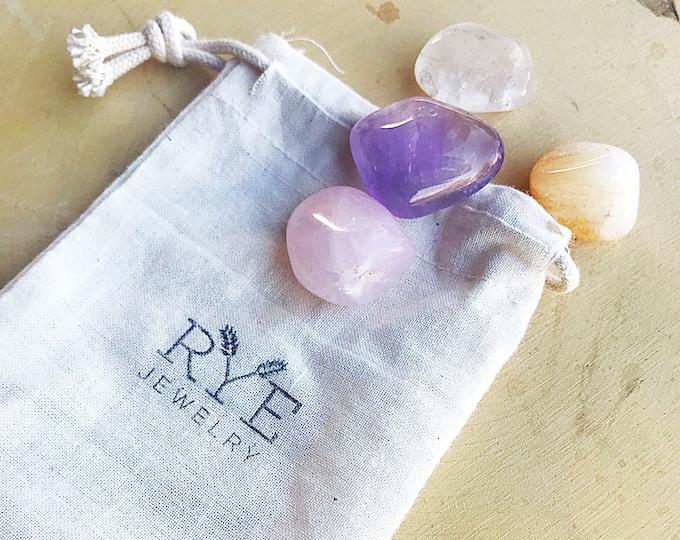 Healing Crystal Set for Manifestation - Amethyst, Citrine, Clear Quartz and Rose Quartz
