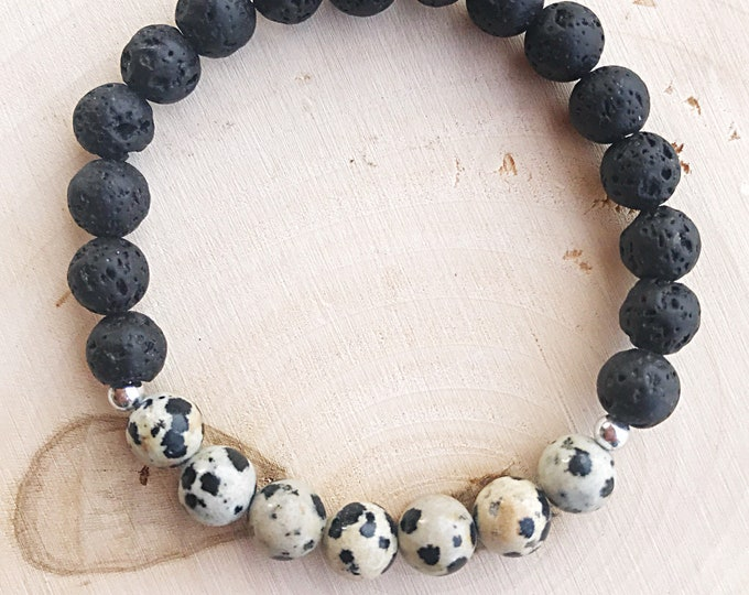 Lava Dalmatian Stone Essential Oil Diffuser Bracelet, Reiki-Healing Aromatherapy Lava Bead Jewelry, Black and White Crystal, Gifts for Her