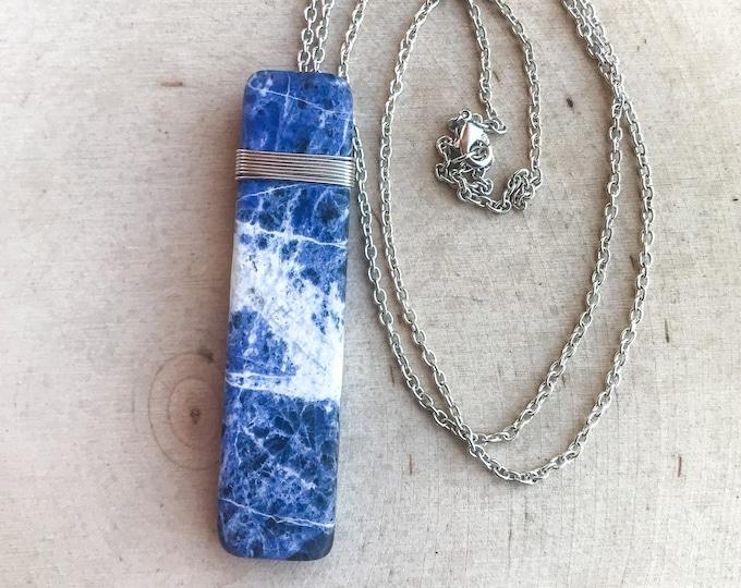 Sodalite Reiki Healing Crystal Necklace