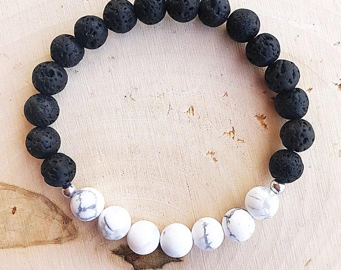 Crystal Lava Howlite Bead Stretch Bracelet