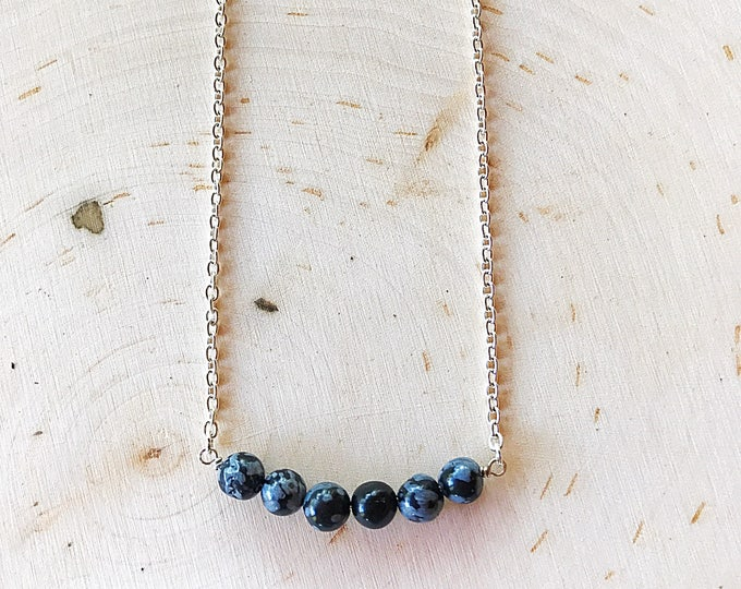 Snowflake Obsidian Crystal Necklace - Black Stone Jewelry - Reiki Healing Beads - Natural Gemstone - Mind, Body, and Spirit Jewelry - Boho