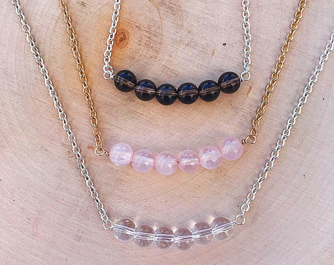 Quartz Healing Crystal Bead Necklace- Clear, Rose, Smokey