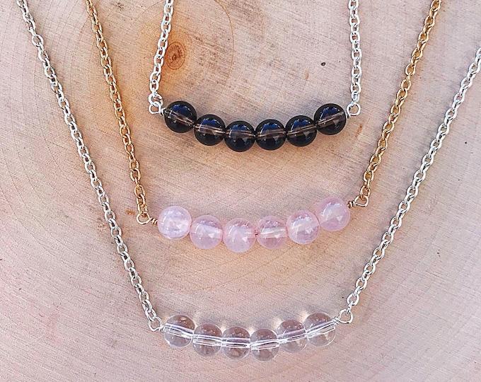 Reiki-Infused Quartz Crystal Bead Necklace, Clear, Rose, Smoky Quartz, Smokey Gemstone Jewelry, Healing Stone Crystal Pendant, Bridesmaid