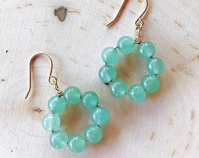 Healing Crystal Green Aventurine Earrings