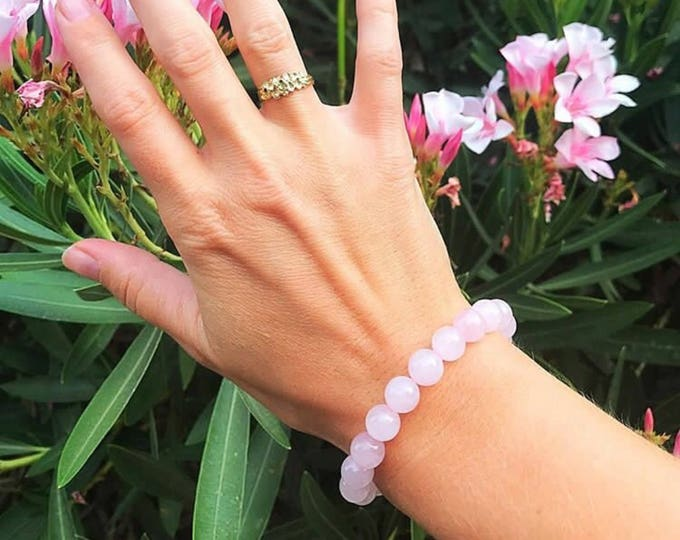 Pink Rose Quartz Stretch Bead Bracelet