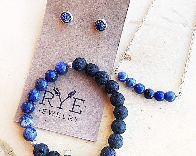Blue Sodalite Necklace, Earrings, Bracelet Jewelry Set