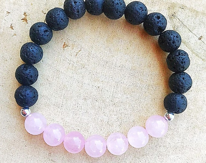 Pink Rose Quartz Crystal and Lava Bracelet, Aromatherapy Jewelry, Essential Oil Diffuser, Reiki Healing Stretch Bracelet, Gifts for Her