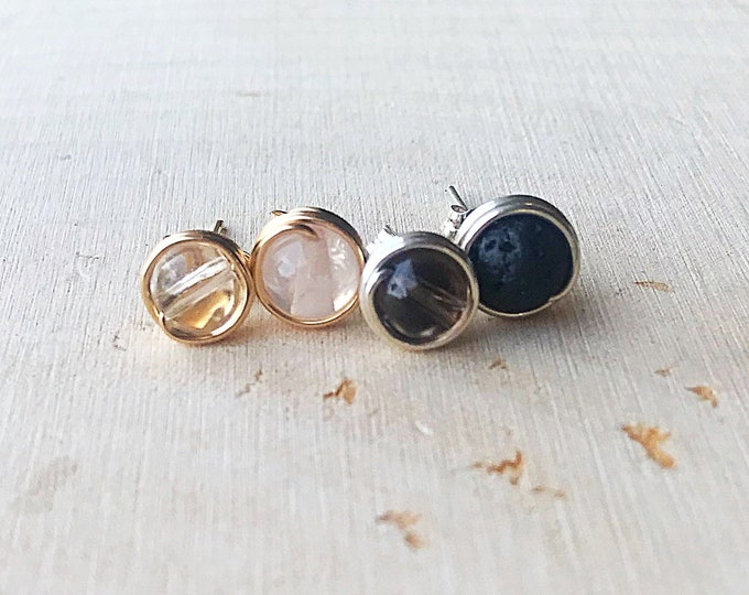Crystal Bead Stud Earrings, Reiki Energy Healing Stone, Clear Quartz, Smoky Quartz, Rose Quartz, Lava, Gemstone Jewelry, Bohemian, Handmade