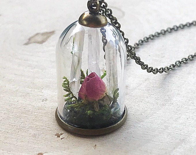 Fairy Garden Crystal Terrarium Necklace