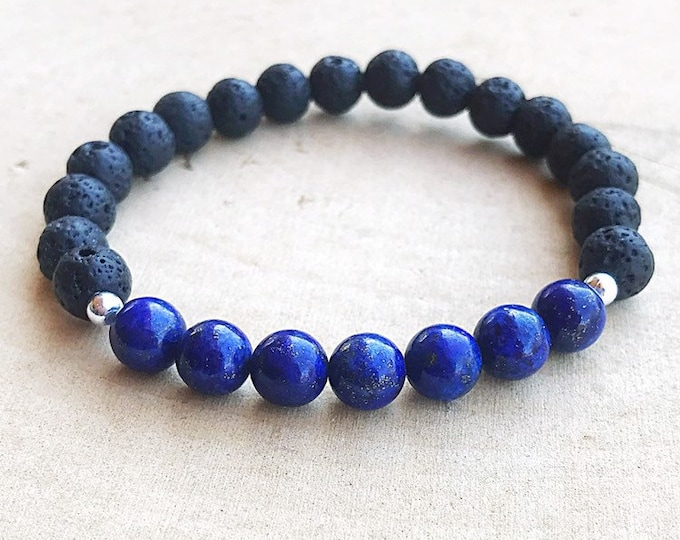 Lapis Lazuli Blue Crystal and Lava Bracelet, Aromatherapy Jewelry, Essential Oil Diffuser, Reiki Healing Stretch Bracelet, Gifts for Her