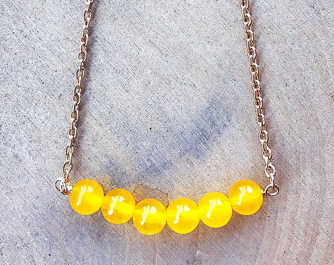 Yellow Jade Healing Crystal Bead Necklace