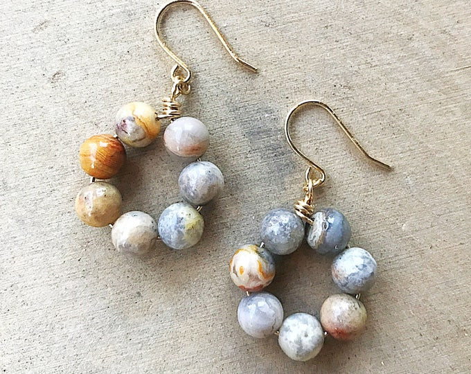 Crazy Lace Agate Earrings, Healing Crystal Jewelry, Multi Colored Stone Beads, Gold Jewelry, Gemstone, Gifts For Her, Bridesmaid Gift, Boho