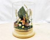 Crystal Fairy Garden - Green Fuchsite Crystal Terrarium Art - Miniature Diorama with Dried Flowers