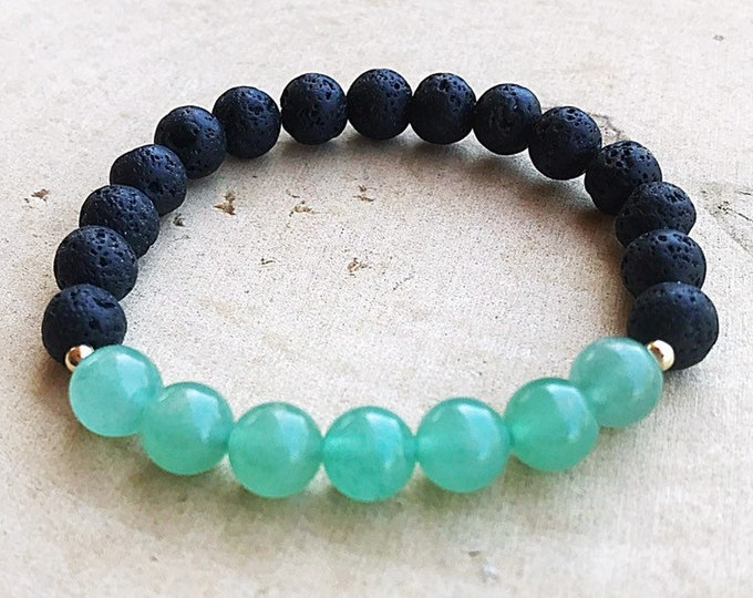 Green Aventurine Crystal and Lava Bracelet, Aromatherapy Jewelry, Essential Oil Diffuser, Reiki Healing Stretch Bracelet, Gifts for Her
