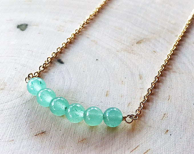 Green Aventurine Healing Crystal Bead Necklace