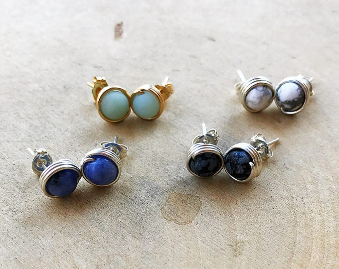 Bead Stud Earrings, Healing Stone, Sodalite, Howlite, Amazonite, Obsidian, Crystal Post, Gemstone Jewelry, Bohemian, Gifts For Her, Handmade