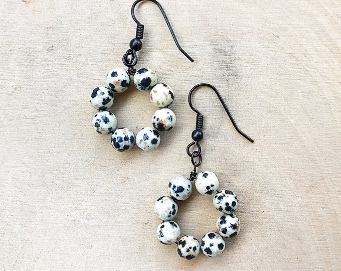 Healing Crystal Dalmatian Stone Bead Hoop Earrings