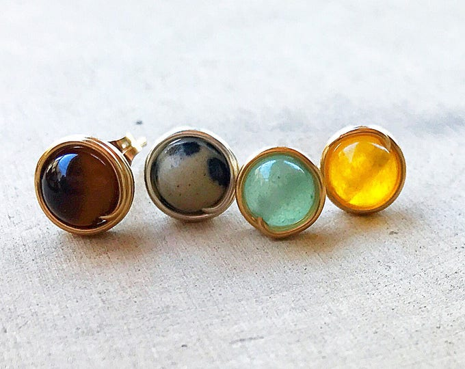 Healing Crystal Bead Stud Earrings- Tiger Eye, Dalmatian Stone, Green Aventurine, Yellow Jade