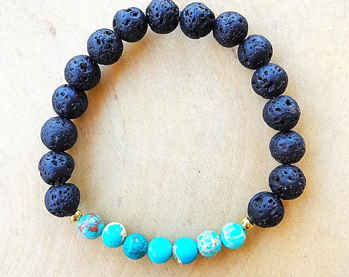 Aqua Terra Jasper Stone Bead Bracelet, Aromatherapy Jewelry, Essential Oil Diffuser, Healing Crystal, Stretch Bracelet, Handmade, Bohemian