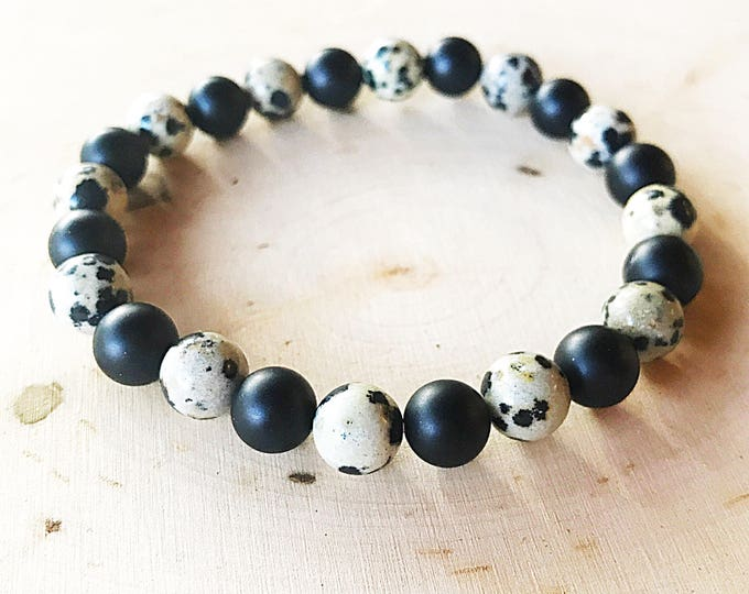 Reiki-Infused Onyx Dalmatian Bracelet, Stone Bead Jewelry, Healing Crystal, Stretch Bracelet, Black and White, Handmade, Chakra Balancing