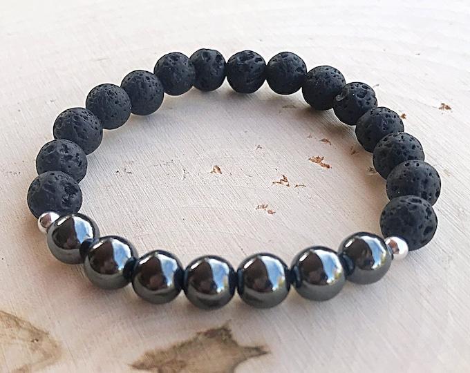 Hematite Lava Crystal Stretch Bead Bracelet