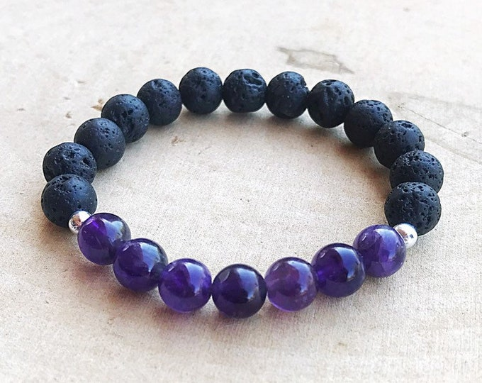 Purple Amethyst Crystal and Lava Bracelet, Aromatherapy Jewelry, Essential Oil Diffuser, Reiki Healing Stretch Bracelet, Gifts for Her
