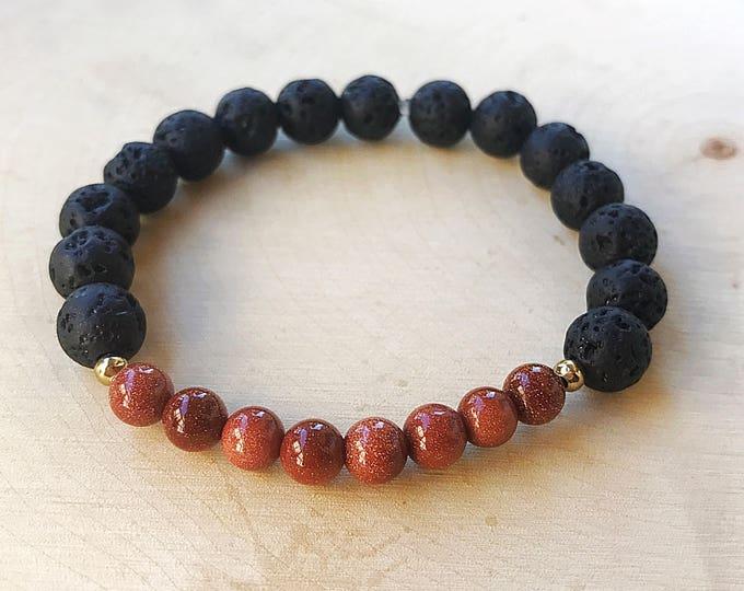 Reiki-Infused Lava Goldstone Bracelet, Stretch Stone Bead Aromatherapy Jewelry, Essential Oil Diffuser, Healing Crystal, Bohemian, Sparkle