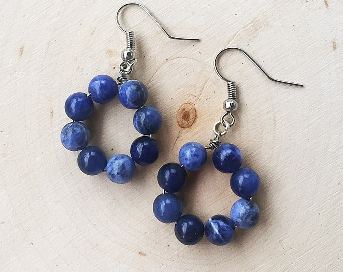 Healing Crystal Sodalite Bead Hoop Earrings