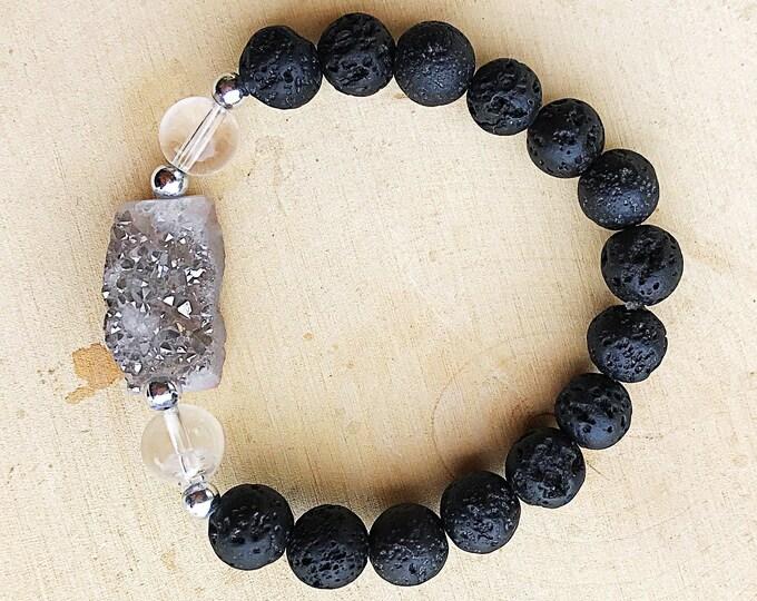 Druzy Crystal Agate Clear Quartz Lava Bracelet