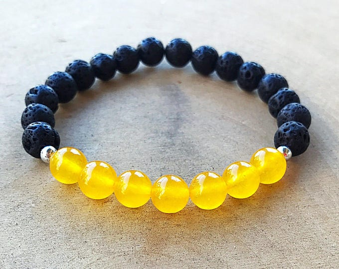 Reiki-Infused Yellow Jade Lava Bead Stretch Bracelet, Aromatherapy Jewelry,  Essential Oil Diffuser, Healing Crystal, Natural Stone, Boho
