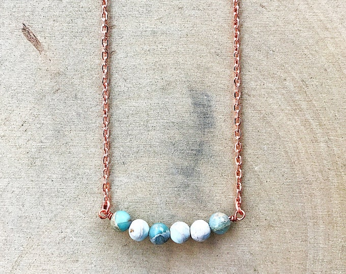 Impression Jasper Necklace, Healing Crystal Jewelry, Blue Gemstone Bead, Copper Pendant, Bohemian, Gifts For Her, Bridesmaid Gift, Rose Gold