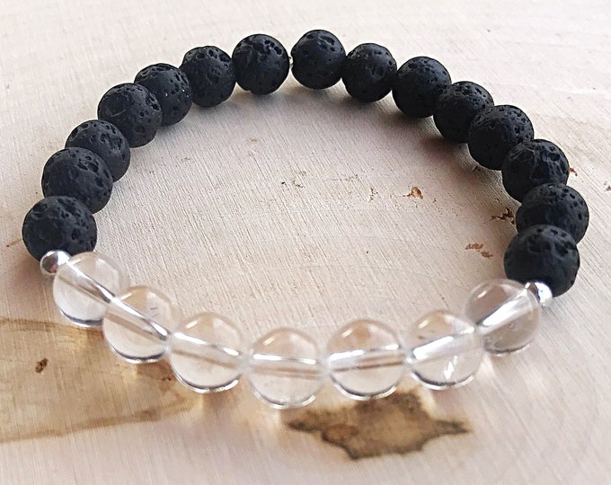 Reiki-Infused Clear Quartz Lava Stone Stretch Bead Bracelet, Healing Crystal, Aromatherapy Jewelry, Essential Oil Diffuser, Handmade, Boho