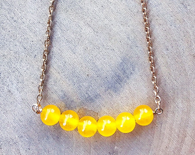 Reiki-Infused Yellow Jade Bead Necklace, Healing Crystal Jewelry, Natural Gemstone, Bohemian, Gifts For Her, Chakra Balancing, Handmade