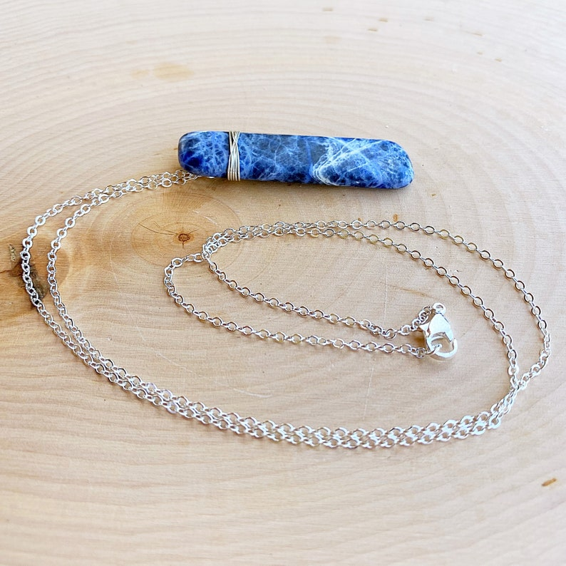 Inspiration and Intuition Jewelry Sodalite Crystal Necklace Silver Healing Stone Pendant