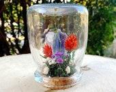 Crystal Fairy Garden - Blue Kyanite Crystal Terrarium Art - Miniature Diorama with Dried Flowers