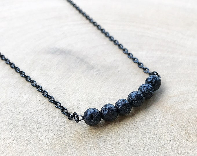 Lava Bead Necklace, Black Stone Jewelry, Healing Crystal Pendant, Bohemian Style, Gifts For Her, Bridesmaid Gift, Handmade, Layering Chain