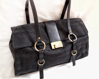 7daee13b6e KRIZIA Logomania Leather and Fabric Shoulder Bag