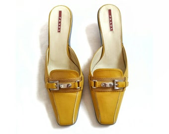 64368a5353e8 PRADA Yellow Leather Kitten Heel Mules Buckle Mules Sandals
