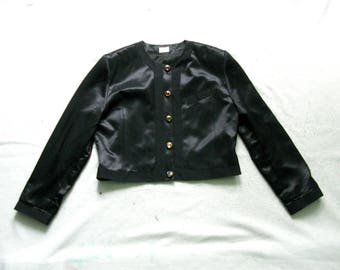 Betty Barclay Black Cropped Multi-Colored Buttons Jacket